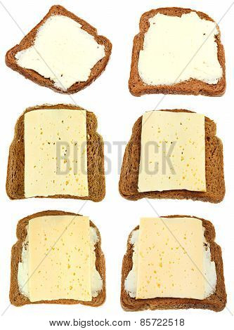 Set From Sandwich From Bread, Butter And Cheese