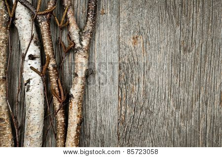 Birch tree trunks and branches on natural wood background with copy space