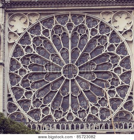 Architectural details of Cathedral Notre Dame de Paris.
