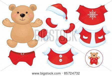 Vector cute Bear with clothes set.