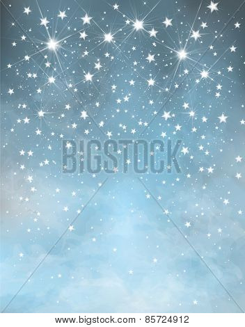 Vector blue starry background.