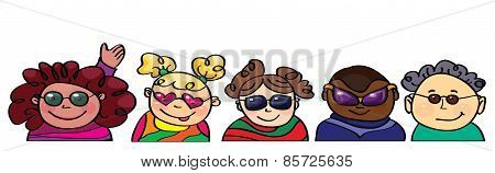 Vector fun kids in glasses.