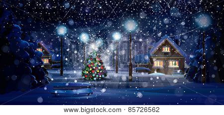 Winter night scene. Merry Christmas and Happy New Year!