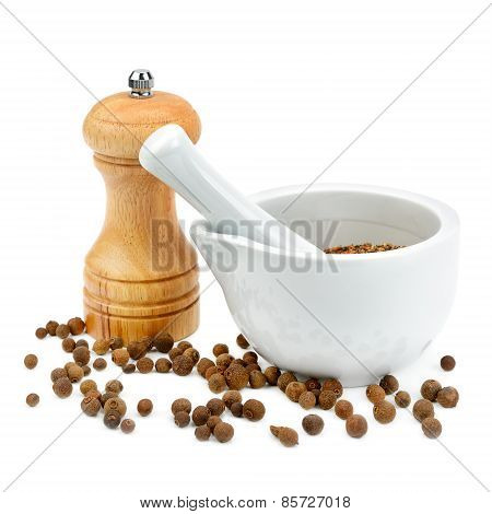 Kitchen Equipment For Grinding Spices Isolated On A White Background