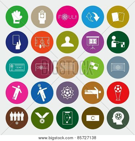 Soccer Icons Set Circle Vector Illustration