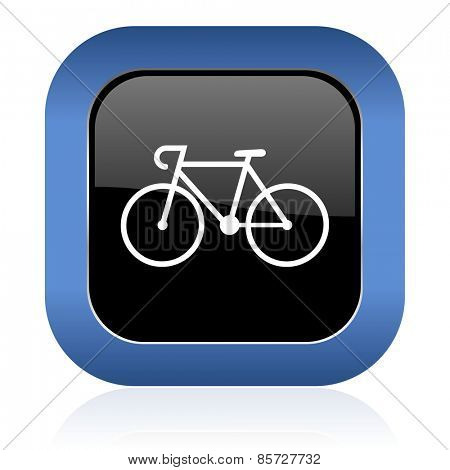 bicycle square glossy icon bike sign