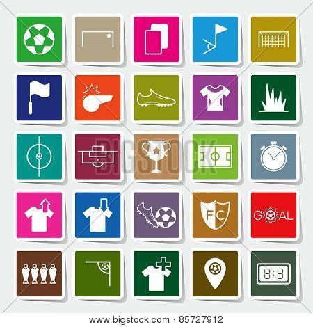 Soccer Sticker Icons Set Vector Illustration