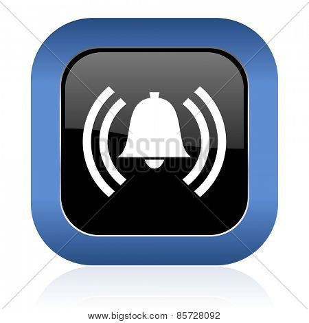 alarm square glossy icon alert sign bell symbol