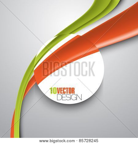 bent wave lines overlapping blank round frame with space for texts and images eps10 vector background