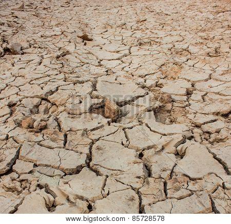 Crack soil on dry season, Global warming effect.