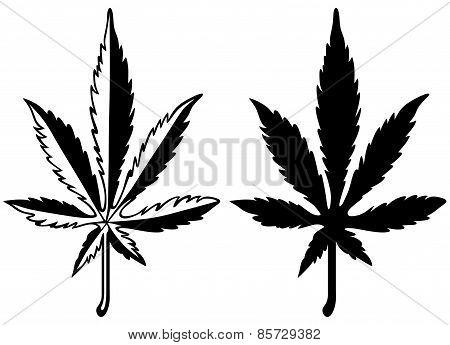 Cannabis leaf silhouette. Marijuana