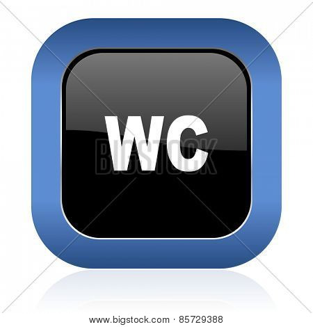 toilet square glossy icon wc sign