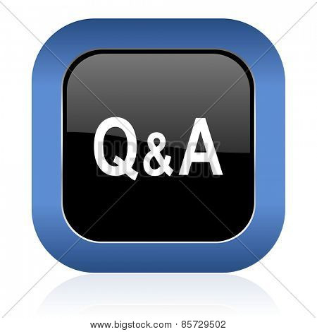 question answer square glossy icon