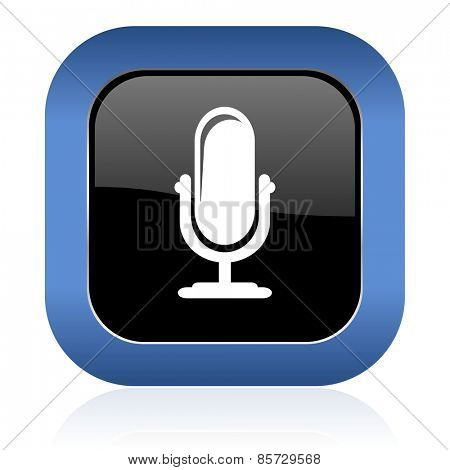 microphone square glossy icon podcast sign