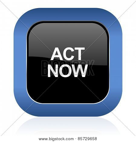 act now square glossy icon