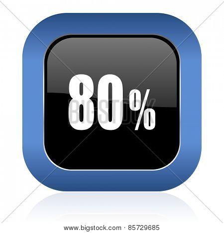 80 percent square glossy icon sale sign