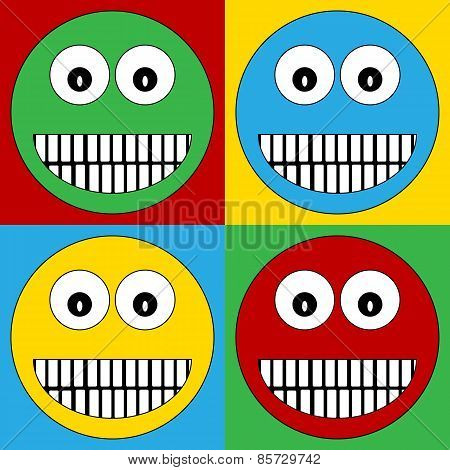 Pop Art Smile Face Symbol Icons.