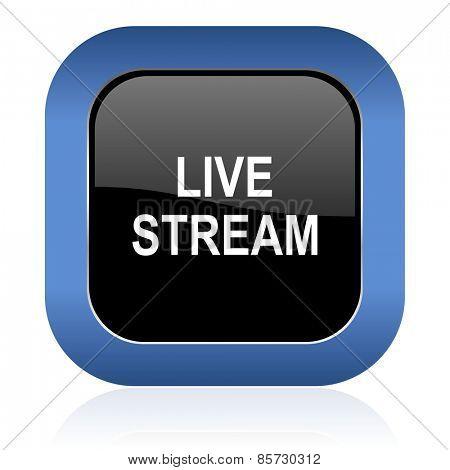 live stream square glossy icon