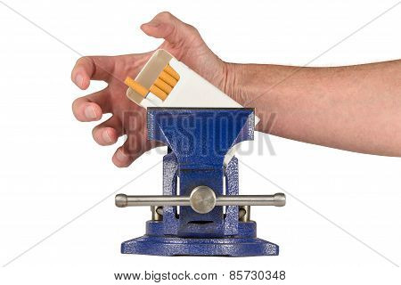 Vices - Hand Grabbing For Cigarettes Held In A Vise Grip