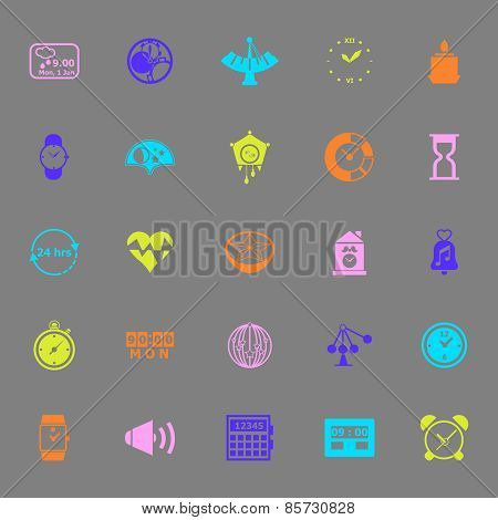 Design Time Color Icons On Gray Background