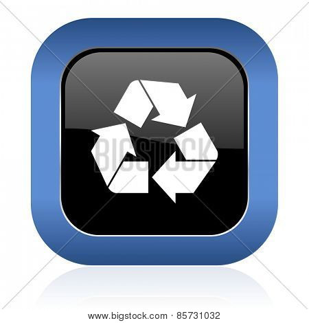 recycle square glossy icon recycling sign