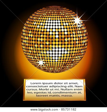 Golden Disco Ball Plaque