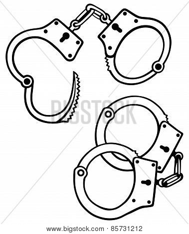 Handcuffs silhouettes