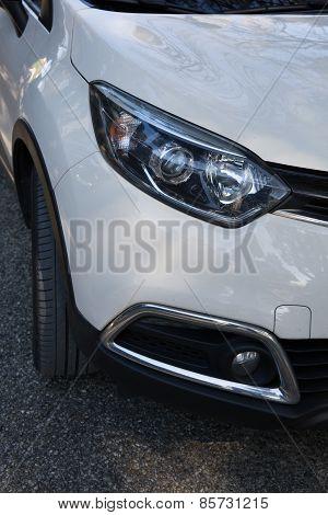 The Car Headlights. An Exterior Detail