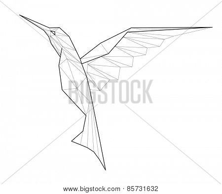 Kolibri. Low polygon linear vector illustration