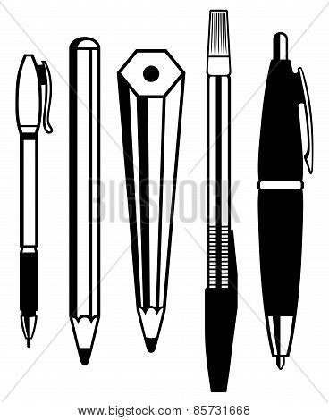 Pencil, pen and fountain pen icons