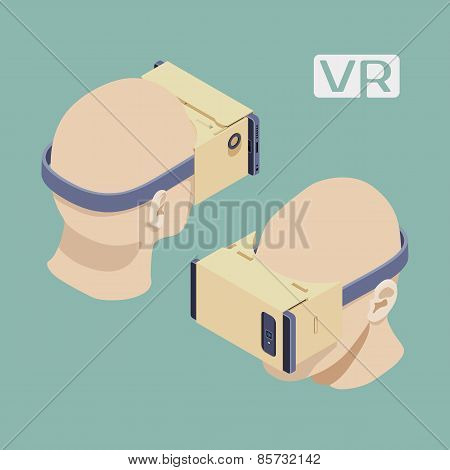 Isometric cardboard virtual reality headset