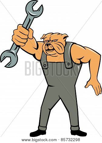 Bulldog Mechanic Spanner Standing Cartoon