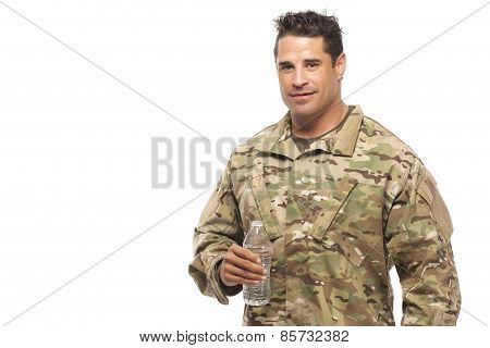 Soldier With Water Bottle