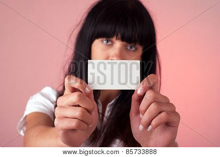 Woman With Blank Businesscard