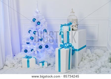 Festive Interior Decoration For Christmas In Blue And White