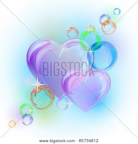 Romantic background with colorful bubble hearts shapes.