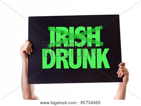 Irish Drunk card isolated on white