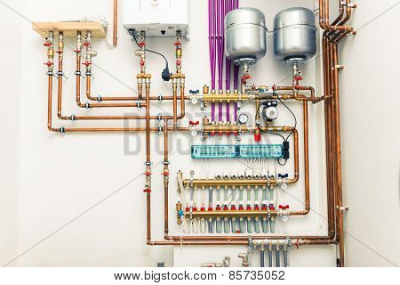 independent heating system in boiler-house