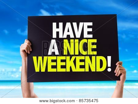 Have a Nice Weekend card with beach background