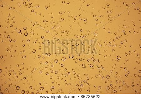 Water Drops On The Glass As A Background
