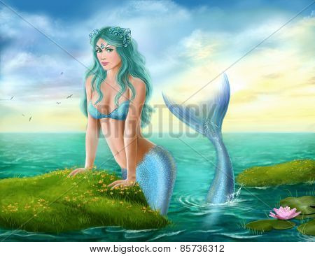 Fantasy  beautiful young mermaid in sea