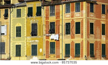 Portofino's houses detail. Color image