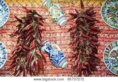 Traditional Red Hungarian Peppers And Folk Art Objects For Sale