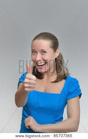 Happy girl rejoices luck