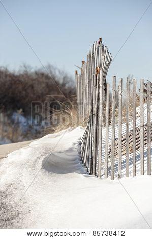 Snow Fence In Dunes