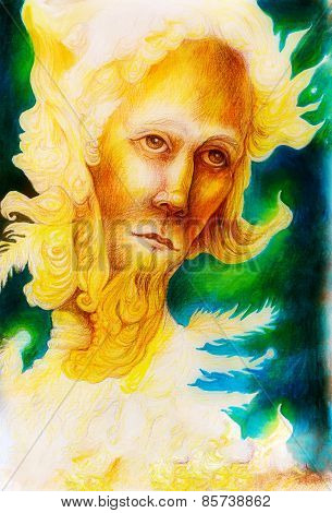 Golden Sun Prophet Of The Feather Realm, A Spiritual Man Face With Feathers And Ornamental Structure