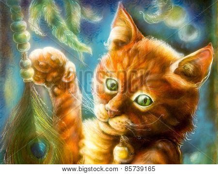 Clever Orange Fairytale Cat Playing With A Peacock Feather, Fantasy Colorful Painting, Eye Contact,