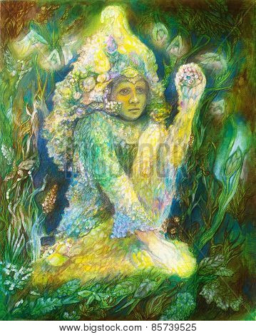 Little Elven Fairy Spirit Sitting In Grass, Beautiful Fantasy Colorful Painting