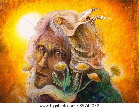 Fantasy Elven Fairy Man Portrait With Dandelion, Colorful Painting, Portrait Close Up