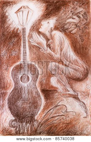 Gentle Dreamy Fairy Poet Crawing A Guitar Light, Fantasy Detailed Monochromatic Ornamental Drawing,